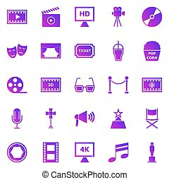 Movie gradient icons on white background