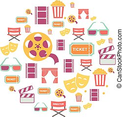 Movie Graphic Icons on white Background.