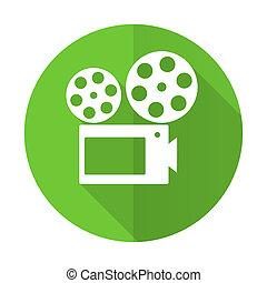 movie green flat icon cinema sign