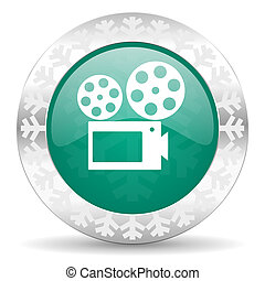 movie green icon, christmas button, cinema sign