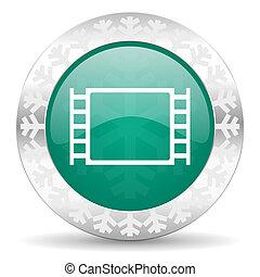 movie green icon, christmas button