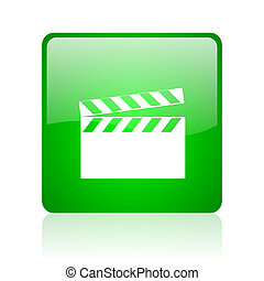 movie green square web glossy icon