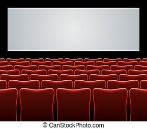 Movie hall with red seats and blank screen vector background...