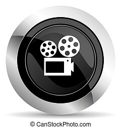 movie icon, black chrome button, cinema sign