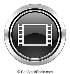 movie icon, black chrome button