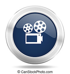 movie icon, dark blue round metallic internet button, web and mobile app illustration
