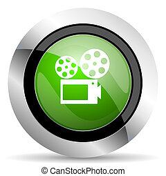 movie icon, green button, cinema sign