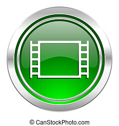 movie icon, green button