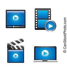 movie icon over white background vector illustration