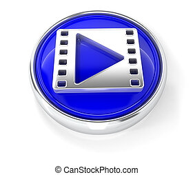 Movie icon on glossy blue round button