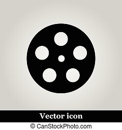Movie icon on grey background