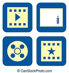 Movie icon set - Movie video production icon set isolated on...