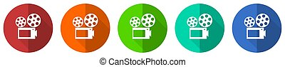 Movie icon set, red, blue, green and orange flat design web buttons isolated on white background, vector illustration