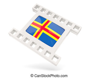 Movie icon with flag of aland islands