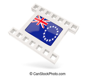 Movie icon with flag of cook islands isolated on white