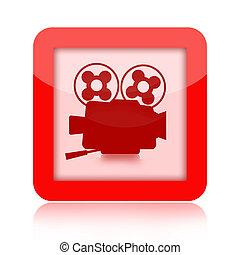 Movie icon with retro film camera