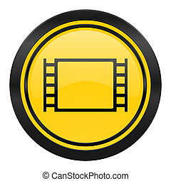 movie icon, yellow logo,