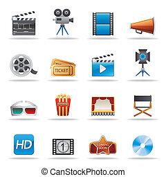 movie icons - movie entertainment icons set