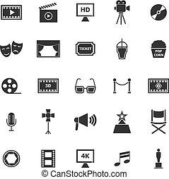 Movie icons on white background