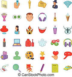 Movie icons set, cartoon style