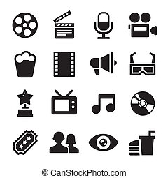 Movie icons set - Movie and Cinema icons set. 16 icons.