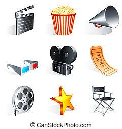 Set of 9 movie icons.