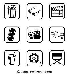 Movie icons set on white background.