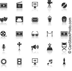 Movie icons with reflect on white background