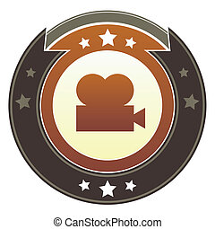 Movie imperial crest - Movie or film projector icon on round...