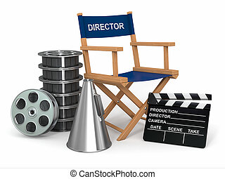 Movie industry. Producer chair, ?lapperboard and film reels. 3d