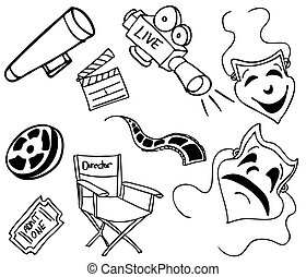 Movie Item Doodles - An image of movie items.