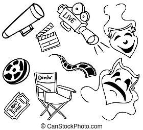 Movie Item Doodles - An image of movie items.
