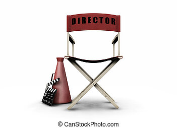 3D render of directors chair and movie items