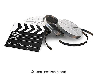 Movie items - 3D render of film reels and a clapper board on...