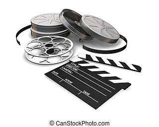 Movie items - 3D render of film reels, clapper board and ...