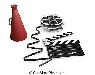 Movie items - 3D render of movie items isolated on white ...