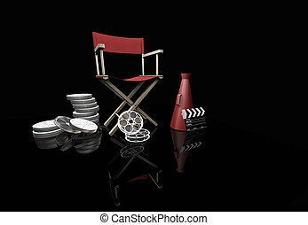 Movie items - 3D render of movie items on black background