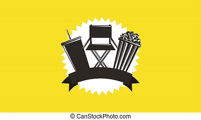 movie label chair pop corn soda banner retro style animation...
