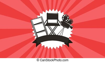 movie label chair projector and film strip banner retro...