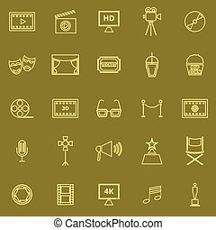 Movie line color icons on brown background