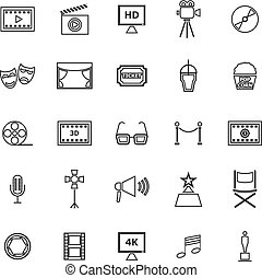 Movie line icons on white background