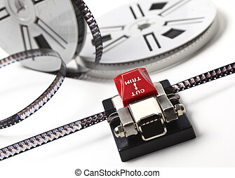 movie maker - closeup image on classic 8mm movie film and...