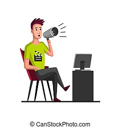 Movie making concept with director. Flat cartoon vector illustration. TV person at work. Director in work