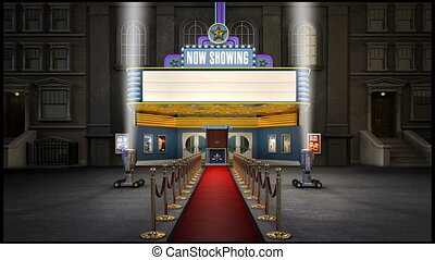 1080p HD video of a blank old fashioned movie marquee and panning spotlights shining in the air.