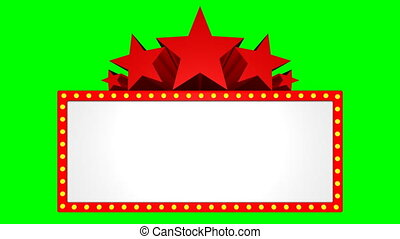 Movie marquee on a chroma key background.