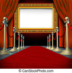 Movie and theatre marquee blank sign with elegant velvet curtains and a red carpet with gold barriers roped off and a billboard in lights as an icon of entertainment and important show announcement.