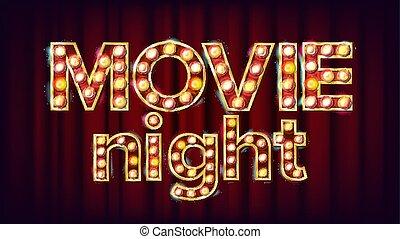 Movie Night Background Vector. Theatre Cinema Golden Illuminated Neon Light. For Theater, Cinematography Advertising Design. Retro Illustration