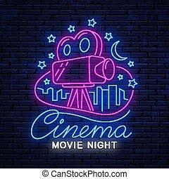 Movie night, bright neon sign.
