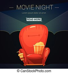 Movie Night Cartoon Illustration