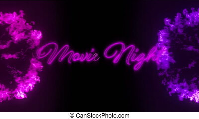 Animation of the words Movie Night in purple flickering neon with two pink rings of smoke on a black background